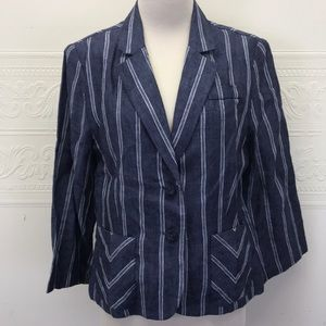 Cabi Blue & White Stripped Linen Career Blazer